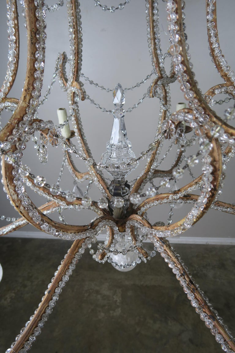 Rock Crystal Beaded Frame Chandelier with Beaded Garlands, Mid-20th Century For Sale 1