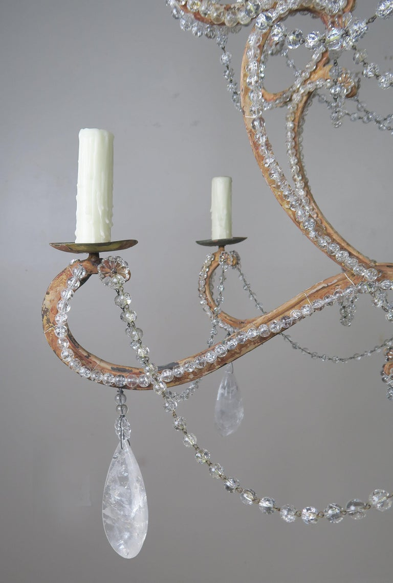 Rock Crystal Beaded Frame Chandelier with Beaded Garlands, Mid-20th Century For Sale 3
