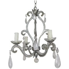 Rock Crystal Beaded Silver Gilt Metal Chandelier