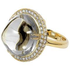Goshwara Rock Crystal Bubble Gum Ring with Diamonds