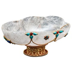 Rock Crystal Carved Footed Bowl with Turquoise and Coral