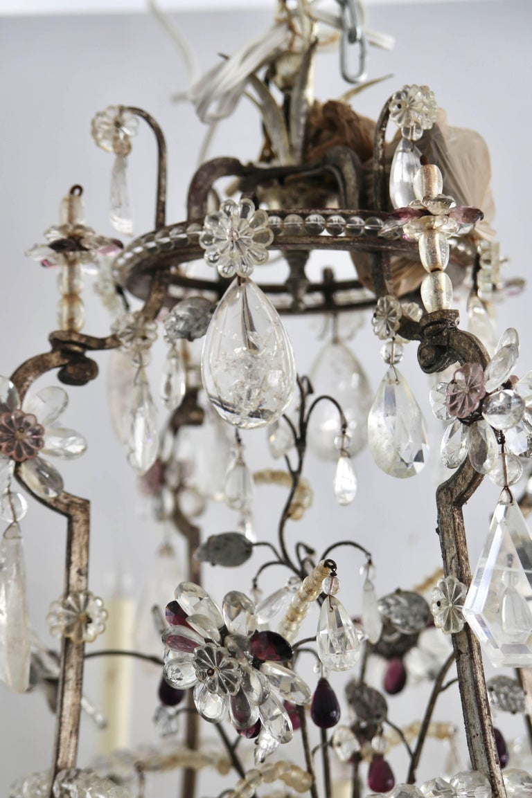 Louis XV Rock Crystal Chandelier by Maison Bagues For Sale