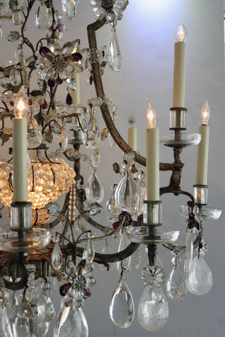 Rock Crystal Chandelier by Maison Bagues In Good Condition For Sale In West Palm Beach, FL