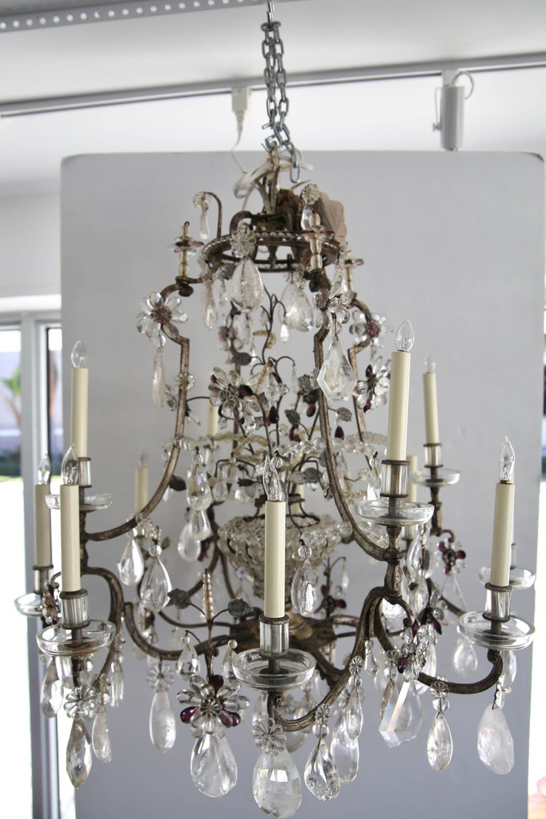 Rock Crystal Chandelier by Maison Bagues For Sale 1
