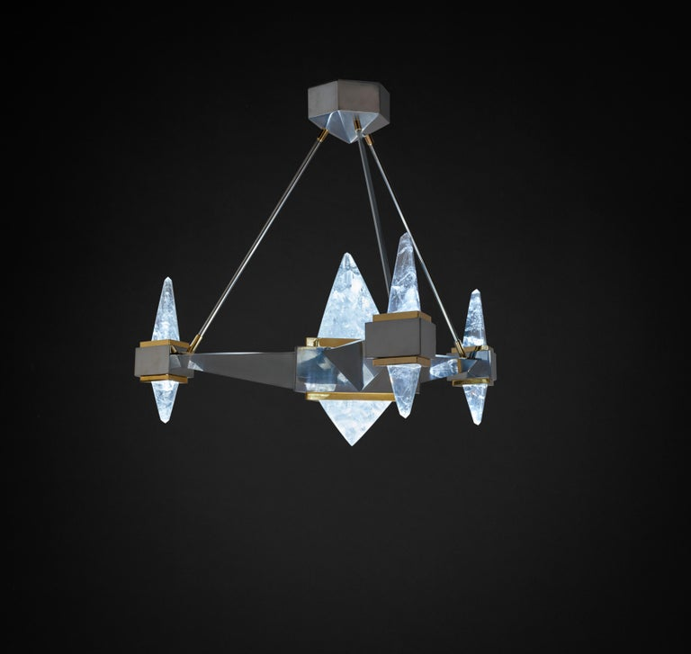 Modern Rock Crystal Chandelier Fuji Model by Alexandre Vossion For Sale