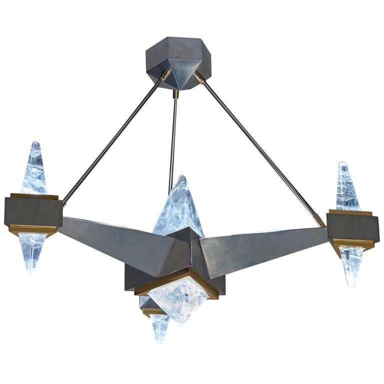 Rock Crystal Chandelier Fuji Model by Alexandre Vossion For Sale