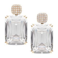Rock Crystal Cushion Earrings with Diamonds