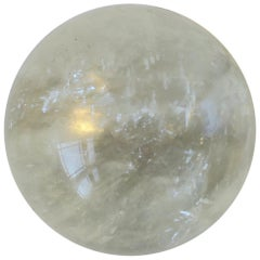 Rock Crystal Decorative Sphere with Black Base