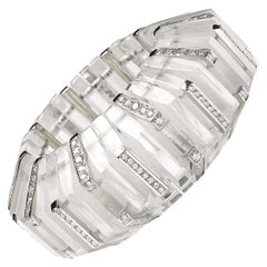 Rock Crystal, Diamond and Platinum Cuff Bracelet