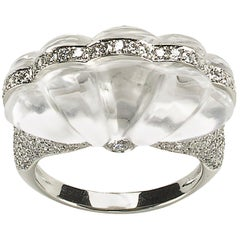 Rock Crystal, Diamond and Platinum Ring