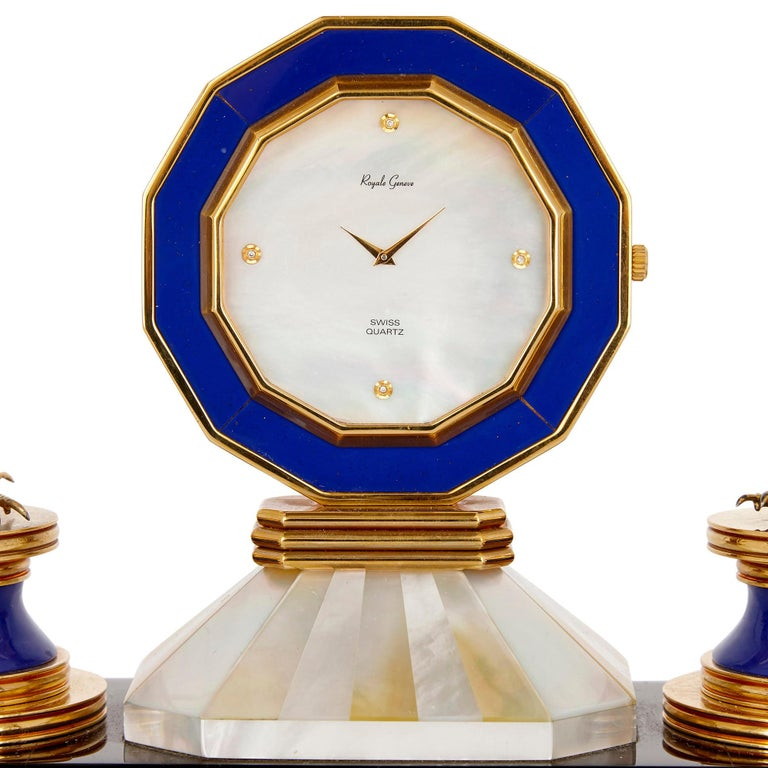 Gilt Rock Crystal, Diamond, and Ruby Swiss Table Clock For Sale