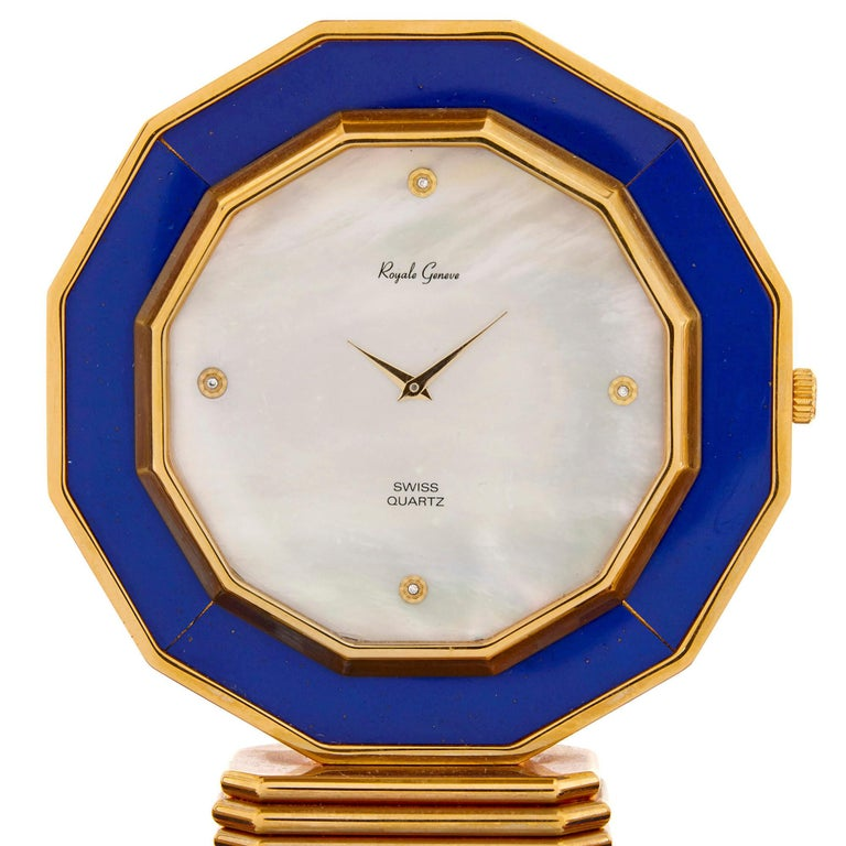 Rock Crystal, Diamond, and Ruby Swiss Table Clock In Good Condition For Sale In London, GB