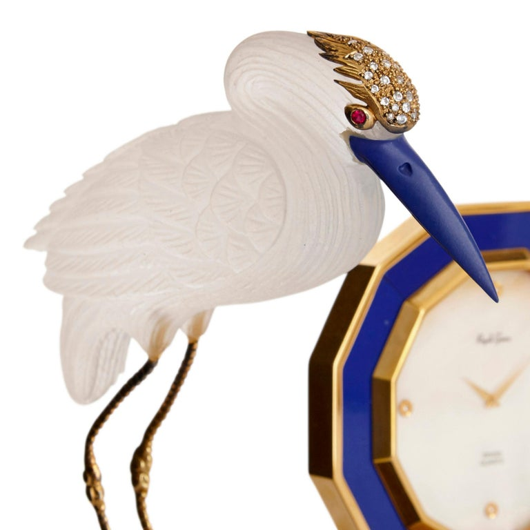 Lapis Lazuli Rock Crystal, Diamond, and Ruby Swiss Table Clock For Sale