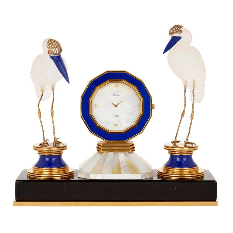 Rock Crystal, Diamond, and Ruby Swiss Table Clock For Sale