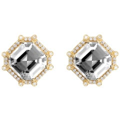 Rock Crystal and Diamond Octagon Studs Earrings