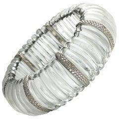 Rock Crystal Diamond Platinum Bracelet