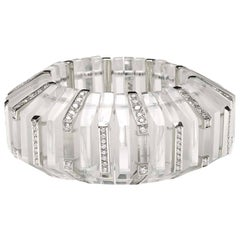 Rock Crystal Diamond Platinum Cuff Bangle Bracelet