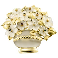 Rock Crystal, Diamond, Sapphire, Rubies Flower Yellow Gold Brooch