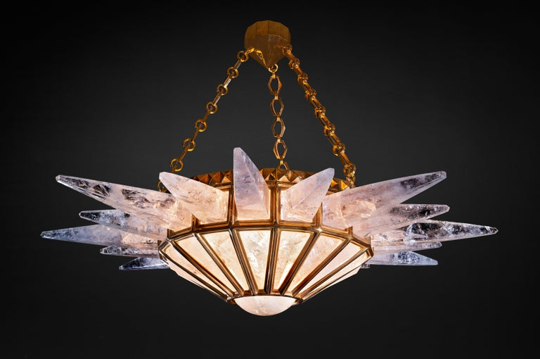 Art Deco Rock Crystal Dream Chandelier by Alexandre Vossion For Sale