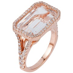 Goshwara Emerald Cut Rock Crystal And Diamond Ring