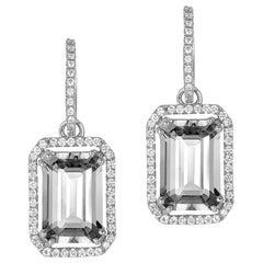 Goshwara Emerald Cut Rock Crystal And Diamond Earrings