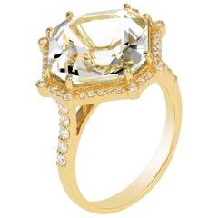 Goshwara Octagon Rock Crystal And Diamond Ring