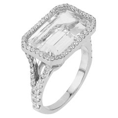 Goshwara Rock Crystal Emerald Cut And Diamond Ring