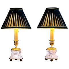 Rock Crystal Empire Style 24-Karat Ormolu Gilding Bronze Lamps Black Shades