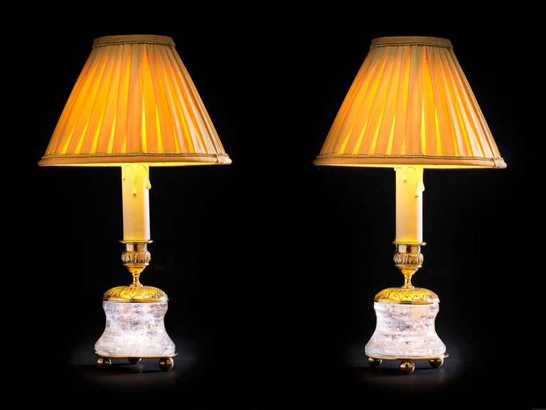 Rock crystal French First Empire style 24-karat Ormolu gilding bronzegold lampshades made by Alexandre Vossion. This model can be also used as candlesticks to make your dining table so chic. Others colors for the lampshades are also available and