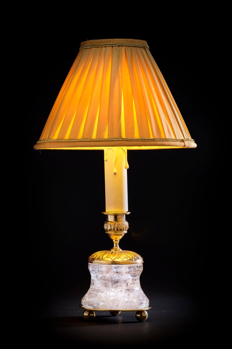 French Rock Crystal Empire Style 24-Karat Ormolu Gilding Bronze Lamps Gold Shades For Sale