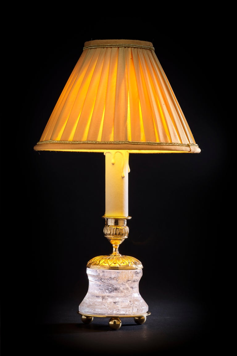 Rock Crystal Empire Style 24-Karat Ormolu Gilding Bronze Lamps Gold Shades In New Condition For Sale In SAINT-OUEN, FR