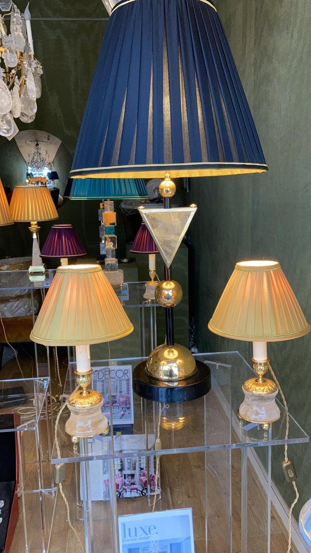 Rock Crystal Empire Style 24-Karat Ormolu Gilding Bronze Lamps Gold Shades For Sale 3