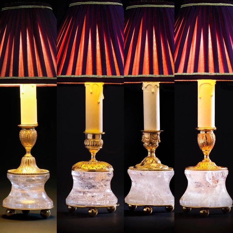 Rock Crystal Empire Style 24-Karat Ormolu Gilding Bronze Lamps Gold Shades For Sale 4