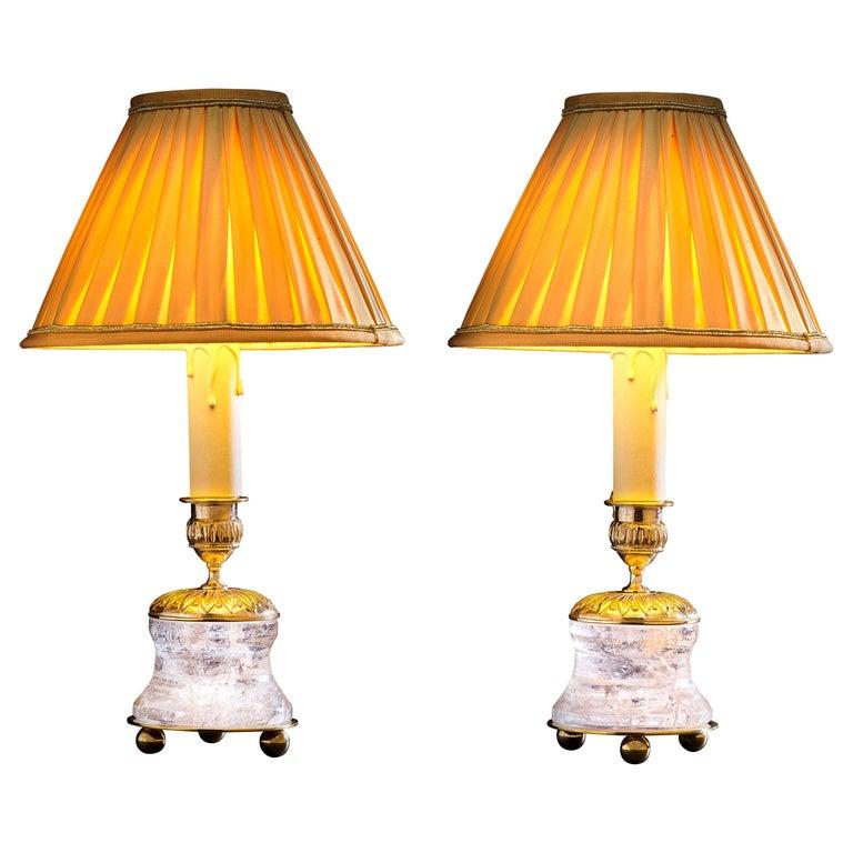 Rock Crystal Empire Style 24-Karat Ormolu Gilding Bronze Lamps Gold Shades For Sale