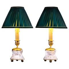 Rock Crystal Empire Style 24-Karat Ormolu Gilding Bronze Lamps Green Shades