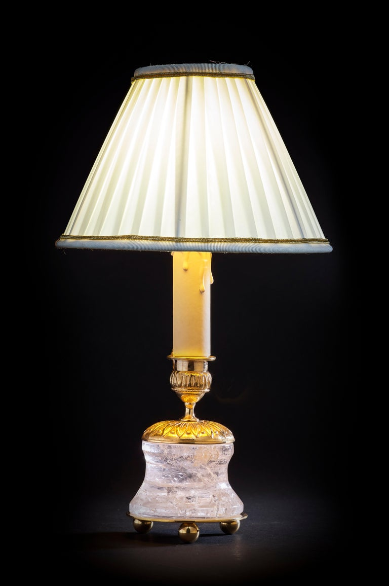French Rock Crystal Empire Style 24-Karat Ormolu Gilding Bronze Lamps Ivory Shades For Sale