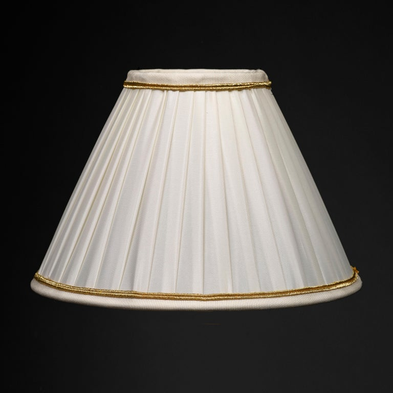 Rock Crystal Empire Style 24-Karat Ormolu Gilding Bronze Lamps Ivory Shades For Sale 2