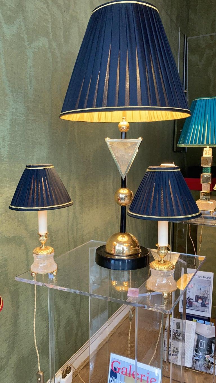 Rock Crystal Empire Style 24-Karat Ormolu Gilding Bronze Lamps Ivory Shades For Sale 4
