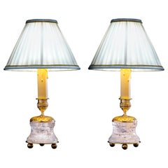 Rock Crystal Empire Style 24-Karat Ormolu Gilding Bronze Lamps Ivory Shades