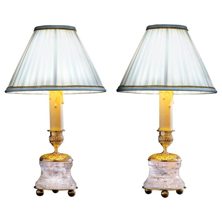 Rock Crystal Empire Style 24-Karat Ormolu Gilding Bronze Lamps Ivory Shades For Sale