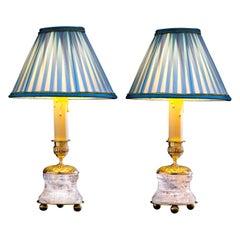 Rock Crystal Empire Style 24-Karat Ormolu Gilding Bronze Lamps Light Blue Shades