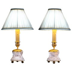 Rock Crystal Empire Style 24-Karat Ormolu Gilding Bronze Lamps White Shades