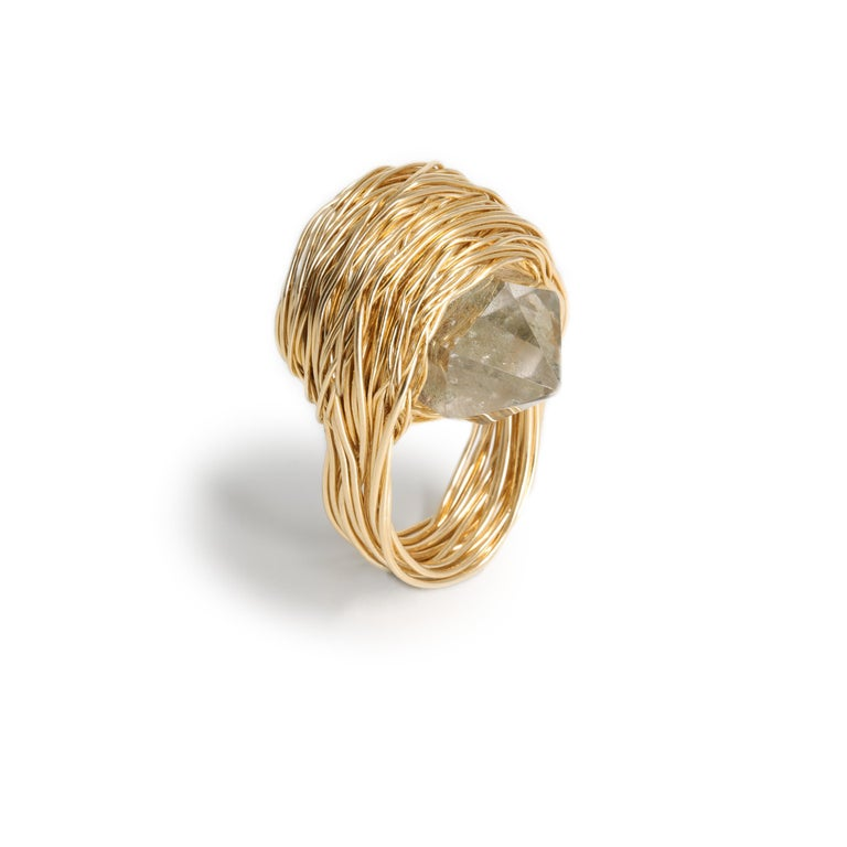 Rock Crystal & Faceted Onyx Statement Cocktail Ring 14 Kt Gold F by the Artist For Sale 1