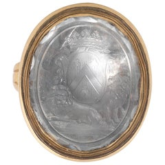 Rock Crystal Intaglio of a French Crest, Late 18th Century