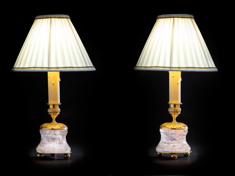 Rock crystal lamps by Alexandre Vossion.  Model IV, First Empire style.  Rock crystal polished and carved stone, bronze, 24-karat gilding, customized lampshade.  Two in ones: you can easily used as a pair of candlesticks on your dining table but