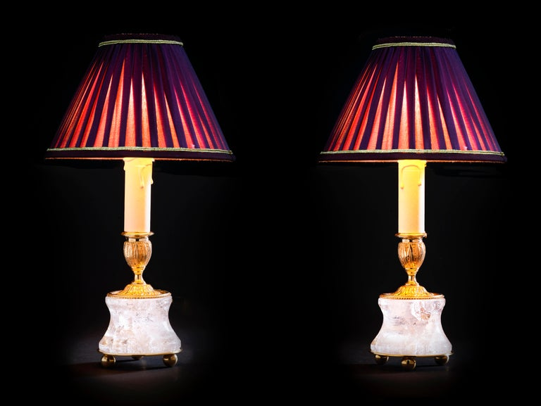 Louis XVI Rock Crystal Lamp by Alexandre Vossion For Sale