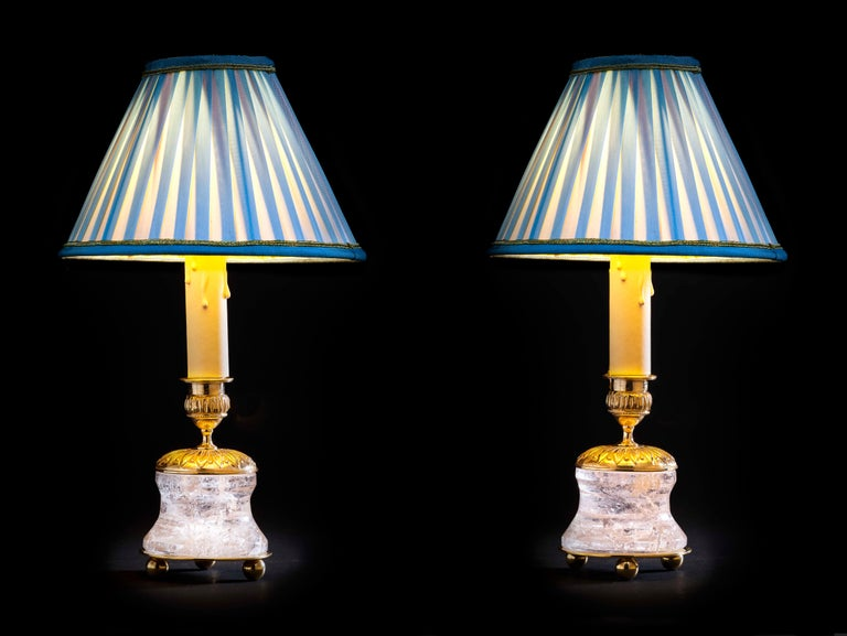 Empire Rock Crystal Lamp by Alexandre Vossion For Sale