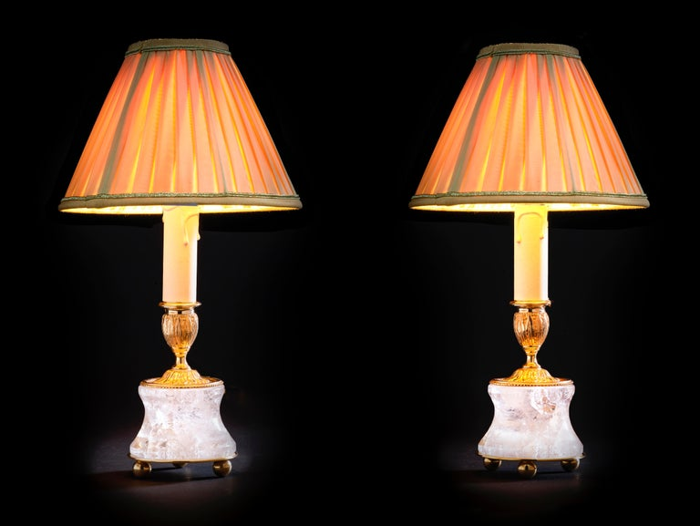 French Rock Crystal Lamp by Alexandre Vossion For Sale