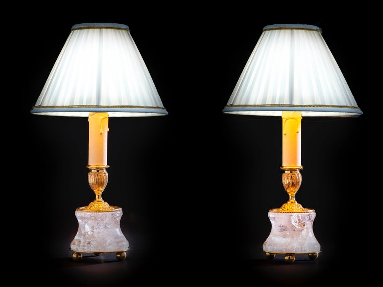 Rock Crystal Lamps by Alexandre Vossion For Sale 6