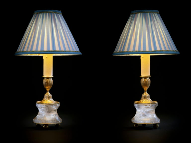French Rock Crystal Lamps by Alexandre Vossion For Sale